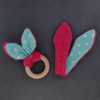 Teether – bunny ears - fuchsia / spots on cyan background