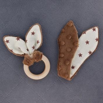 Naturalny gryzak brązowy gwiazdki na kremowym handmade