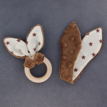 Teether – bunny ears - brown / brown stars on creamy background