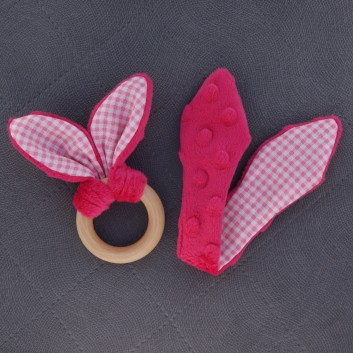 Teether – bunny ears - fuchsia / pink squared on white background