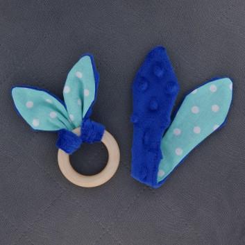 Teether – bunny ears - cornflower blue / white spots on cyan background