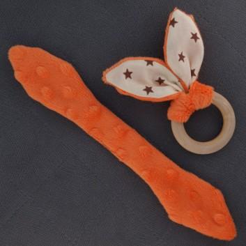 Teether – bunny ears - orange / brown stars on creamy background