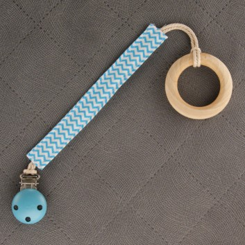 Pacifier / teether clip – cyan mini zigzag on white background