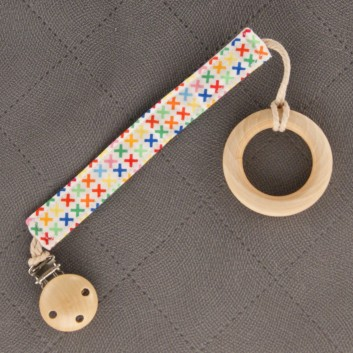 Pacifier / teether clip – colourful x's on white background