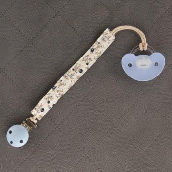Zawieszka do smoczka gryzaka granatowa łączka handmade