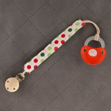 Pacifier / teether clip – colourful spots on white background