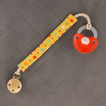 Pacifier / teether clip – colourful spots on yellow background