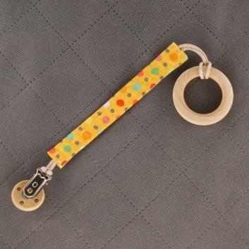 Zawieszka do smoczka gryzaka kolorowe groszki na żółtym handmade