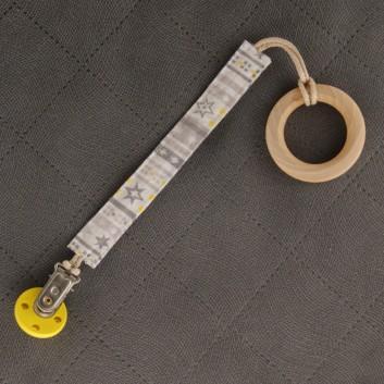 Zawieszka do smoczka gryzaka żółto-szare gwiazdki handmade