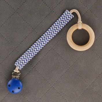 Zawieszka do smoczka gryzaka granatowy mini zygzak handmade