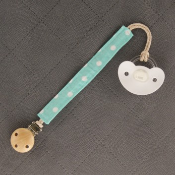 Pacifier / teether clip – white spots on cyan background