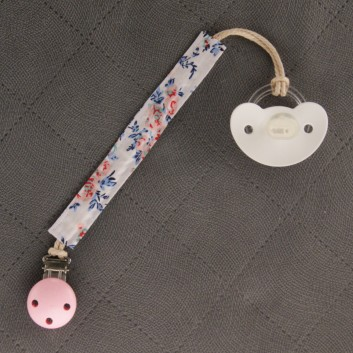 Pacifier / teether clip – pink meadow on white background