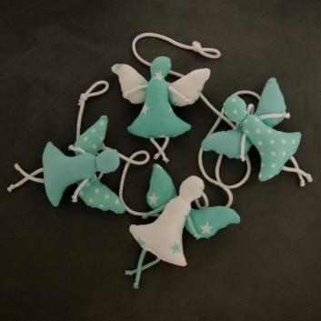 Nursery bunting angels in cyan