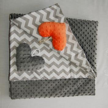 Kocyk Minky ciemno szary / szary zygzak handmade