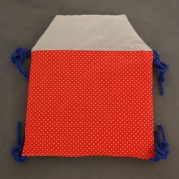 Moduł ochraniacza do łóżeczka Domek kropki na szarym, czerwonym i granacie handmade