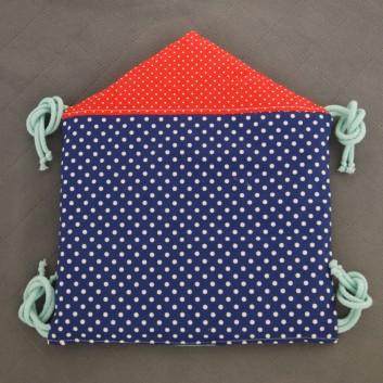 Moduł ochraniacza do łóżeczka Domek kropki na czerwonym, granacie, szarym i turkus handmade