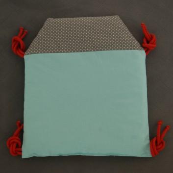 Moduł ochraniacza do łóżeczka Domek kropki na szarym, turkusie, czerwonym i granacie handmade