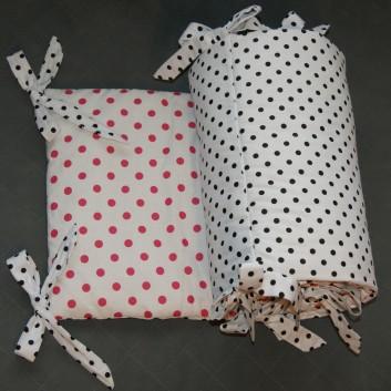Ochraniacz do łóżeczka różowe i czarne kropki na białym 35x210 handmade
