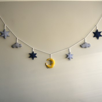 Nursery bunting night in navy blue, white and yellow