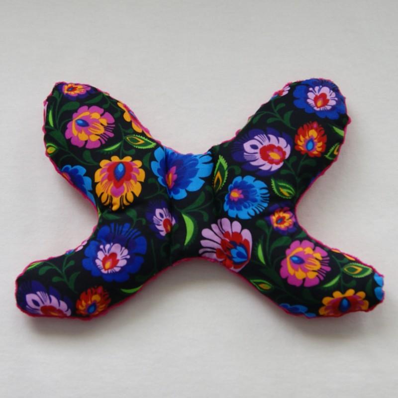 Head support pillow elephant ears fuchsia / traditional Kashubian flowers on black background