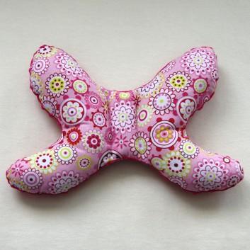 Poduszka antywstrząsowa fuksja kwiaty na różowym handmade