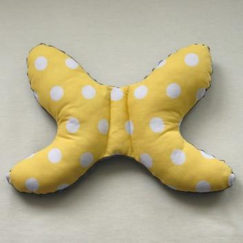Poduszka antywstrząsowa szary białe grochy na żółtym handmade
