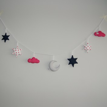 Nursery bunting moon, stars and clouds in grey, navy blue, white and pink
