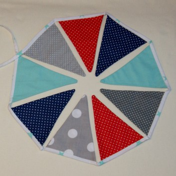 Nursery bunting triangles in grey, navy blue and cyan