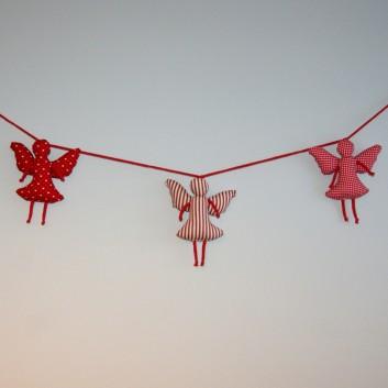 Girlanda bawełniane aniołki czerwone desenie handmade