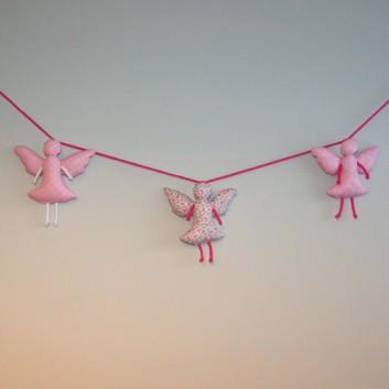 Girlanda bawełniane aniołki różowe desenie handmade