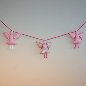 Nursery bunting angels in pink