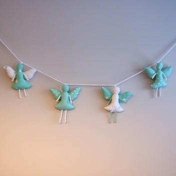 Girlanda aniołki bawełniane turkusowe desenie handmade