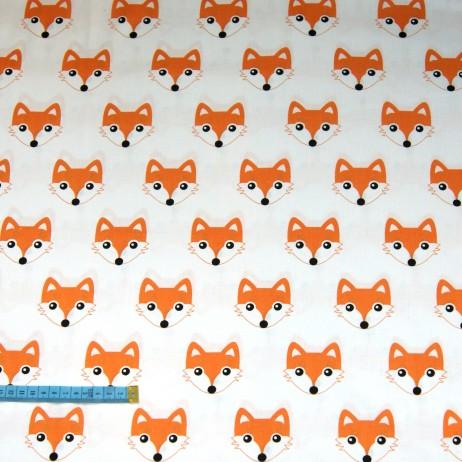 Bawełna w pomarańczowe lisy na białym tle, indywidualne zamówienia, handmade