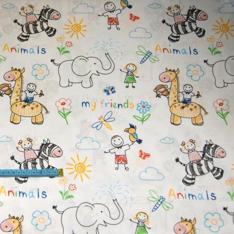 Bawełna w kolorowanki zwierząt, indywidualne zamówienie, handmade