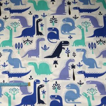 Bawełna dinozaury niebieskie, indywidualne zamówienie, handmade