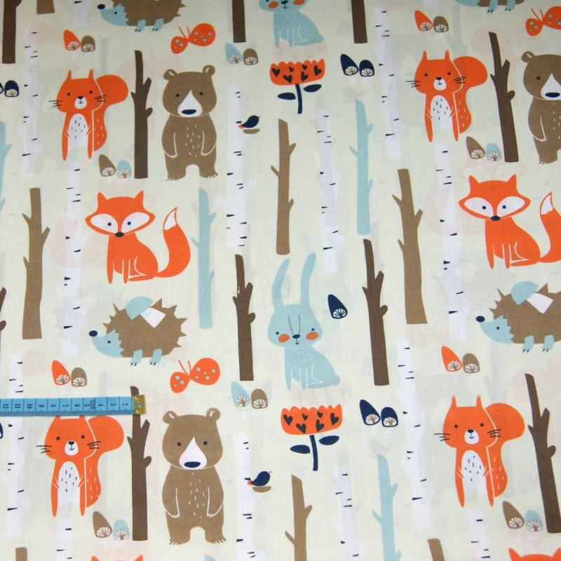 Bawełna zwierzęta w lesie, indywidualne zamówienie, handmade