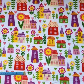 Bawełna kolorowe miasteczko, indywidualne zamówienie, handmade