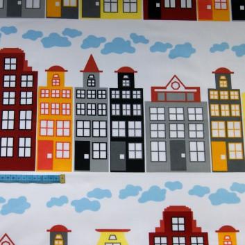 Bawełna kolorowe kamienice, indywidualne zamówienie, handmade