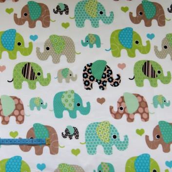 Bawełna słoniki turkusowo-zielone,indywidualne zamówienia, handmade