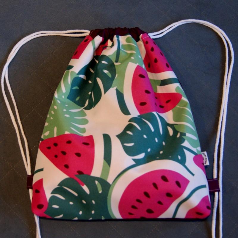 Plecak / worek z tkaniny wodoodpornej arbuzy i liście / fiolet handmade