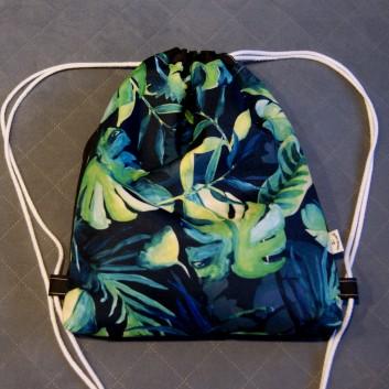 Plecak / worek z tkaniny wodoodpornej liście palmowe na granatowym / czarny handmade
