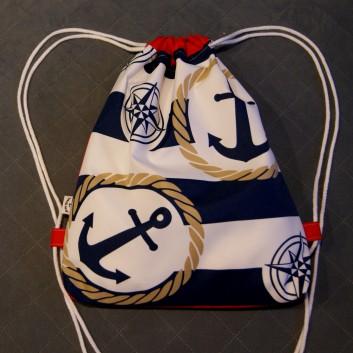 Plecak / worek z tkaniny wodoodpornej kotwice i róże wiatru na biało-granatowych pasach / czerwony handmade