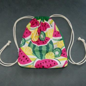Plecak / worek z tkaniny wodoodpornej arbuzy i cytryny / zielony handmade