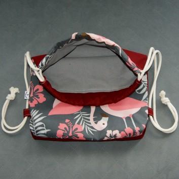 Plecak / worek z tkaniny wodoodpornej łososiowe flamingi na grafitowym / bordowy handmade