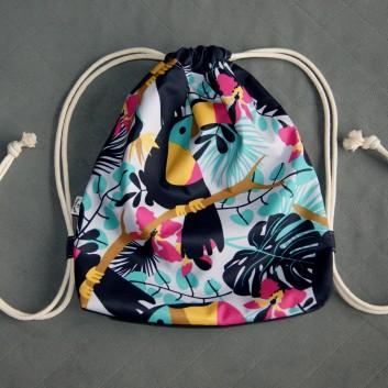 Plecak / worek z tkaniny wodoodpornej tukan na gałęzi / granatowy handmade