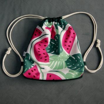 Plecak / worek z tkaniny wodoodpornej arbuzy i liście / ciemnozielony handmade