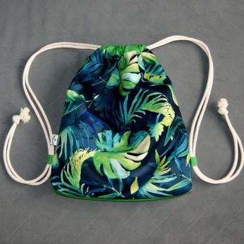 Plecak / worek z tkaniny wodoodpornej zielone liście na granatowym / jasnozielony handmade