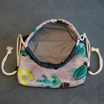 Plecak / worek z tkaniny wodoodpornej zielone i turkusowe kaktusy na szarym / ciemnoszary handmade