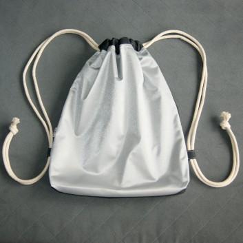 Plecak / worek z tkaniny wodoodpornej srebrny / czarny handmade