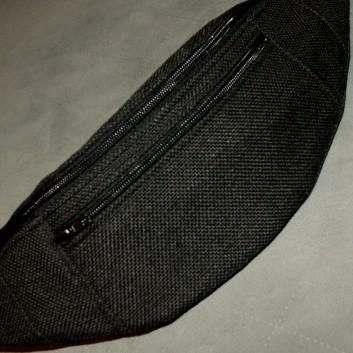 Saszetka biodrowa / nerka z tkaniny obiciowej czarny melanż handmade
